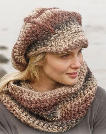 gorras tejidas a crochet para mujer con bufanda