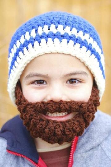 gorros tejidos con barba para bebes
