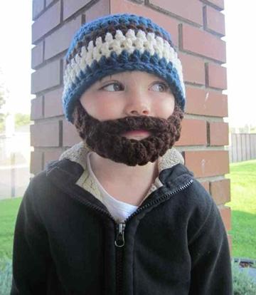 gorros tejidos con barba para niños