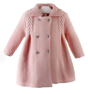 sacos tejidos para niña rosado