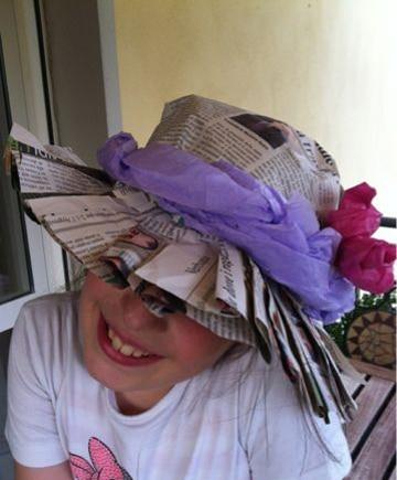 sombreros reciclados para niños con periodico