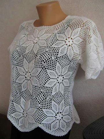 blusones tejidos a gancho color blanco