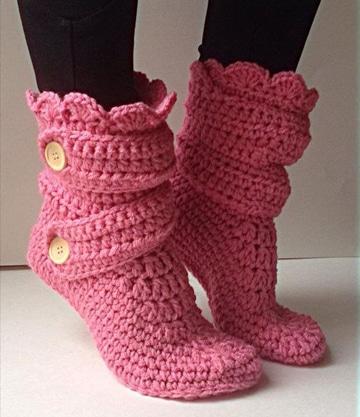 botas tejidas a crochet para mujer un color