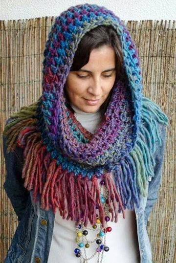 bufanda circular con capucha de colores