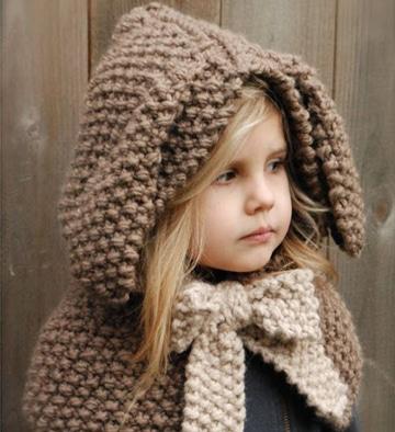 bufanda circular con capucha para niña