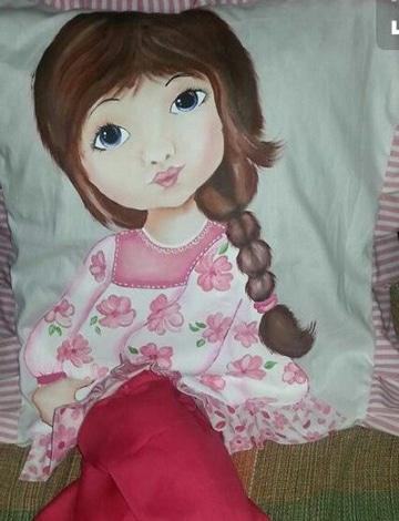 cojines pintados en tela infantiles
