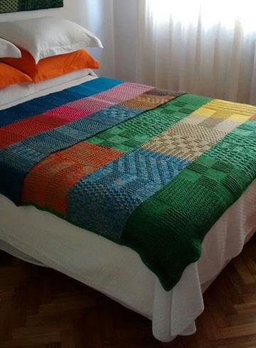 colchas de ganchillo de lana de colores
