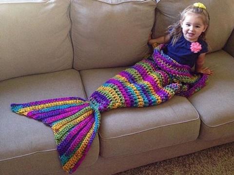 como hacer una cola de sirena tejida para niñas