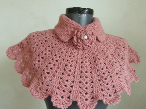 cuellos tejidos para niña rosado