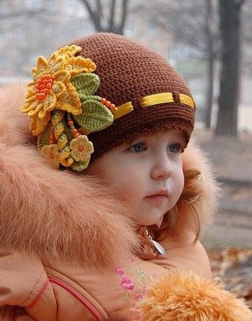 gorros al crochet para bebes para niñas