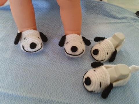 pantuflas tejidas a gancho para bebes