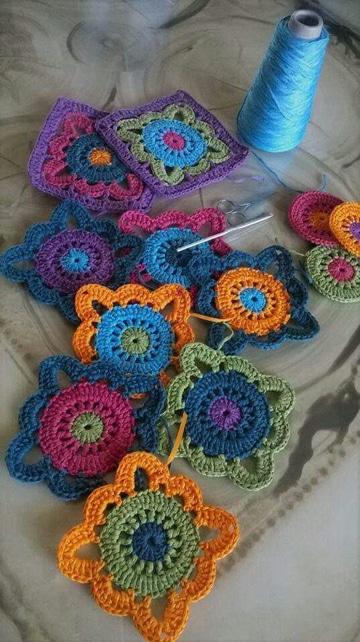pastillas a crochet para colchas de colores