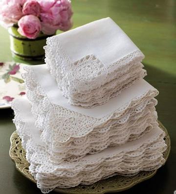 tejidos para orillas de servilletas blancas