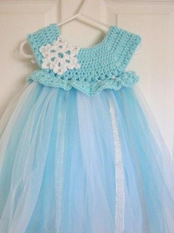 vestidos tejidos con tul para niña azul claro