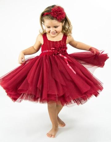 vestidos tejidos con tul para niña rojo