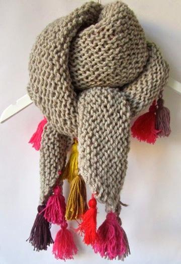 bufandas de ganchillo para mujer con flequillos