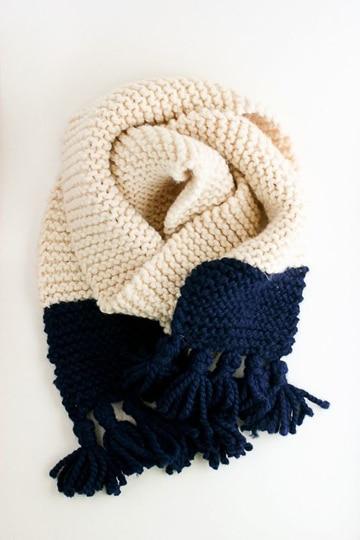 bufandas de ganchillo para mujer dos colores