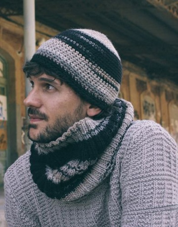 bufandas tejidas para hombre con gorro