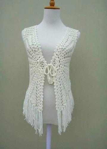 chalecos tejidos a gancho modernos blancos