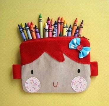 como hacer cartucheras de tela infantiles