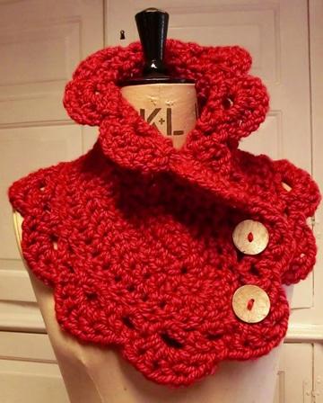 como hacer un cuello tejido a crochet rojo
