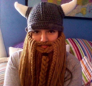 como hacer una barba de lana tejida