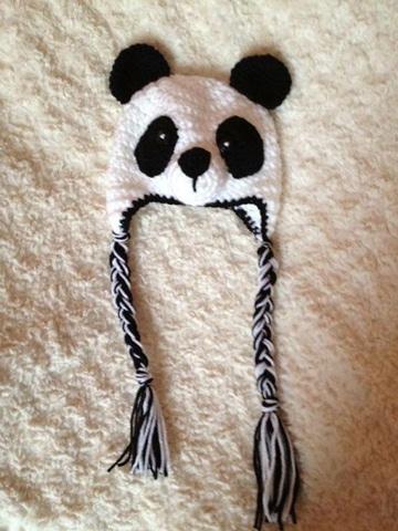 gorros de panda tejidos para niños