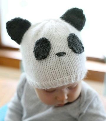 gorros de panda tejidos tiernos