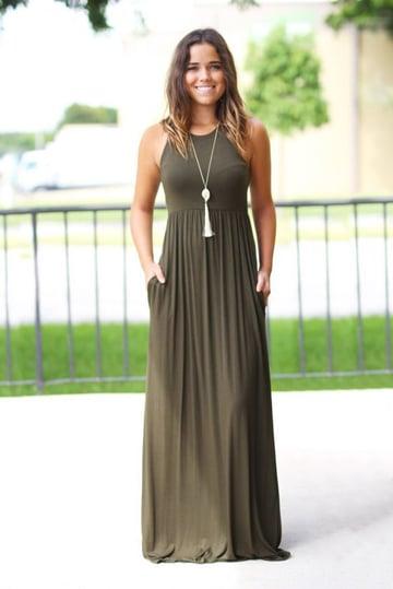 vestidos de algodon largos sencillos
