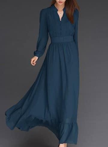 vestidos largos con manga larga color azul