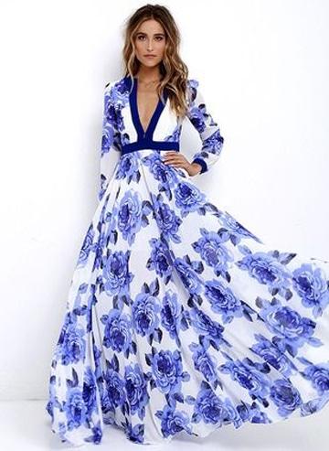 vestidos largos con manga larga motivo floral
