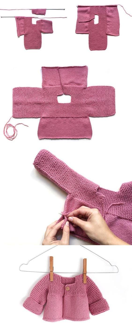 chaquetitas de bebe paso a paso para niña