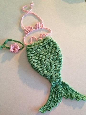 cola de sirena tejida para bebe niña