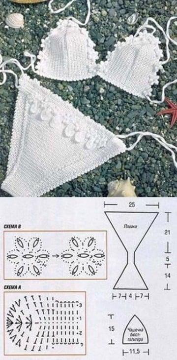 como hacer bikinis a crochet patrones