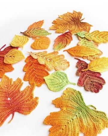 como hacer hojas a crochet diseños