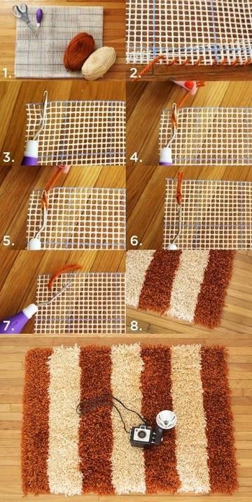 como hacer una alfombra con lana paso a paso