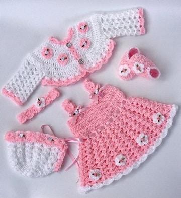 conjuntos tejidos para bebes recien nacidos niña