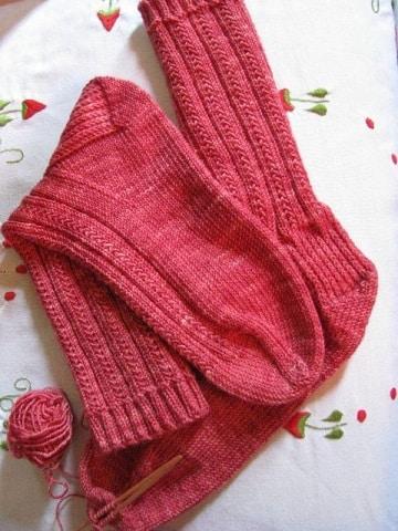 tejer calcetines dos agujas rectas media