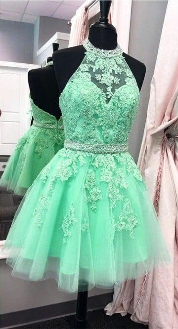vestidos de color verde menta para graduación