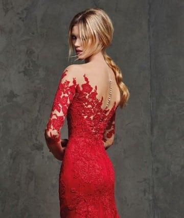 vestidos rojos con manga de noche