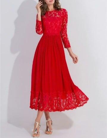 vestidos rojos con manga larga