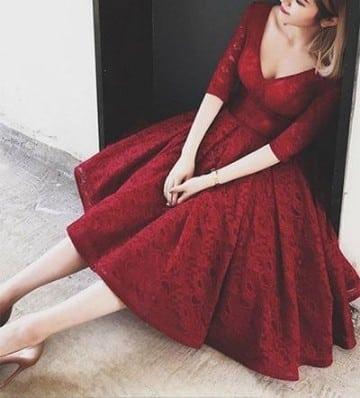 vestidos rojos con manga tres cuartos