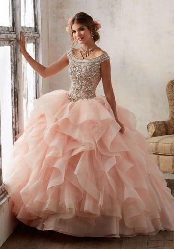 vestidos rosas largos de 15 años