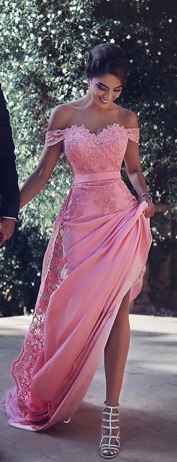 vestidos rosas largos para fiesta de encaje