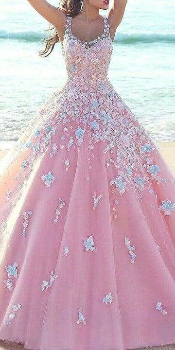 vestidos rosas largos para fiesta