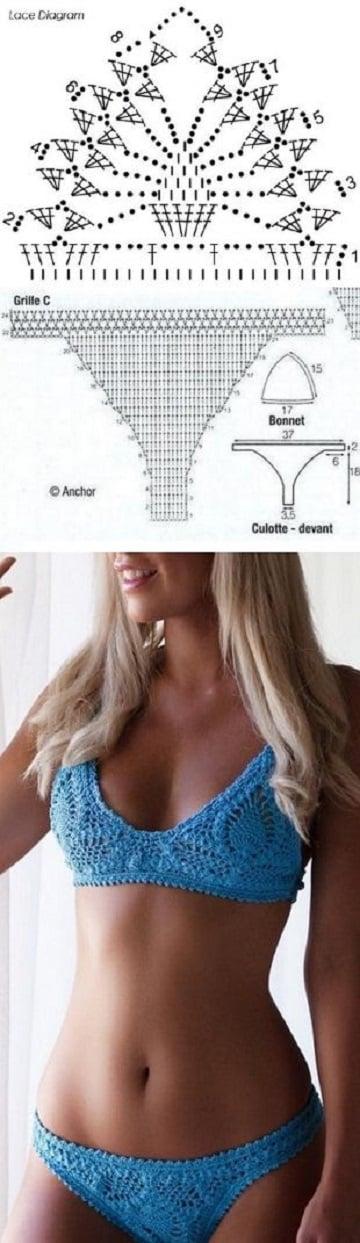 Esquemas y diseños de bikinis tejidos a crochet patrones | Tejidos a ...
