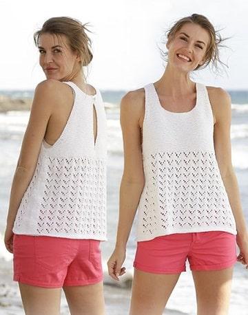 blusas tejidas en dos agujas modernas para playa