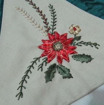 bordados navideños a mano con cinta