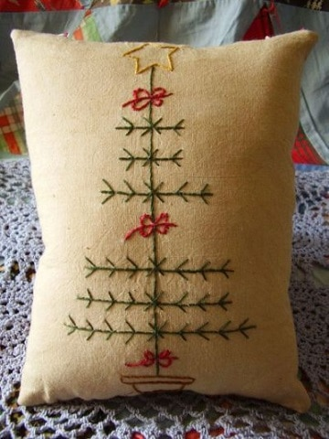 bordados navideños a mano para cojin