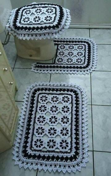 como hacer tapetes para baño de crochet